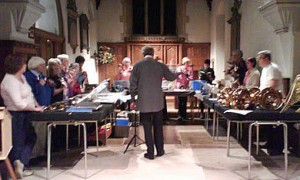 Friday night practice at St Lawrence Church, Chobham (Jan 2008)