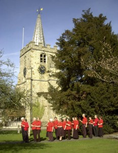 The team take a break from recording the latest CD at St Lawrence Church, spring 2009